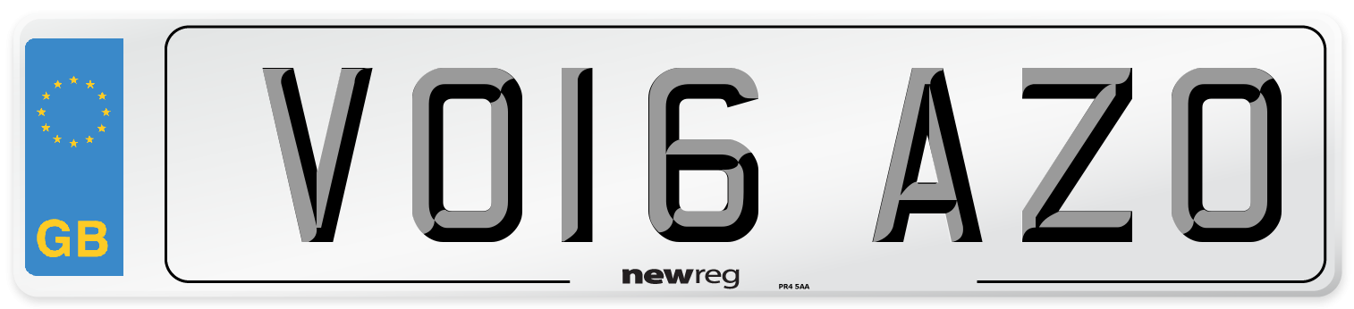 VO16 AZO Number Plate from New Reg