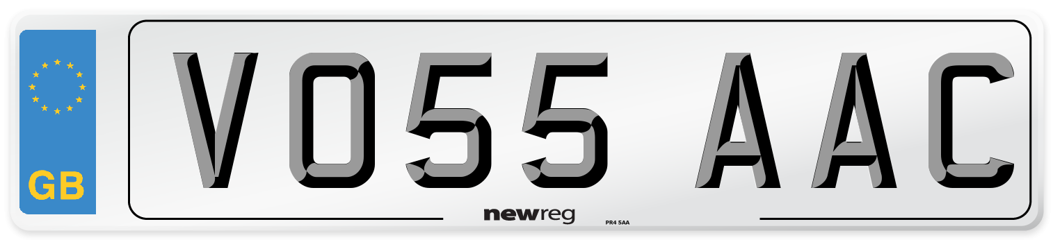 VO55 AAC Number Plate from New Reg
