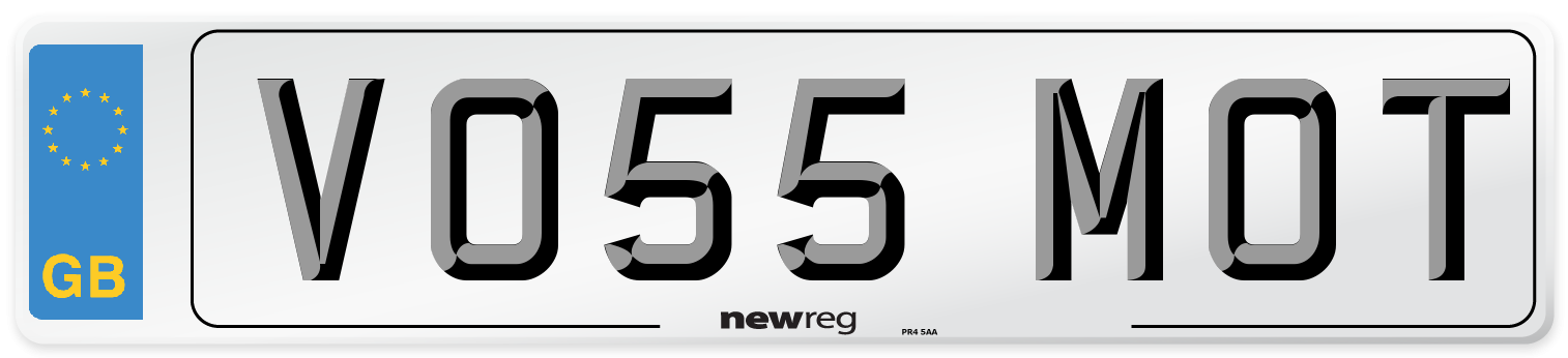 VO55 MOT Number Plate from New Reg