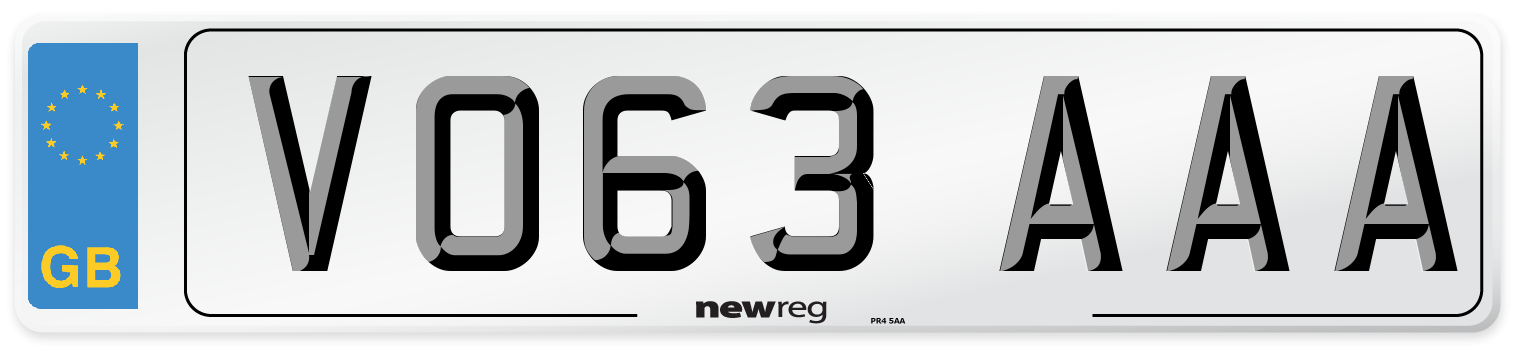 VO63 AAA Number Plate from New Reg