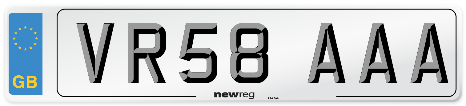 VR58 AAA Number Plate from New Reg