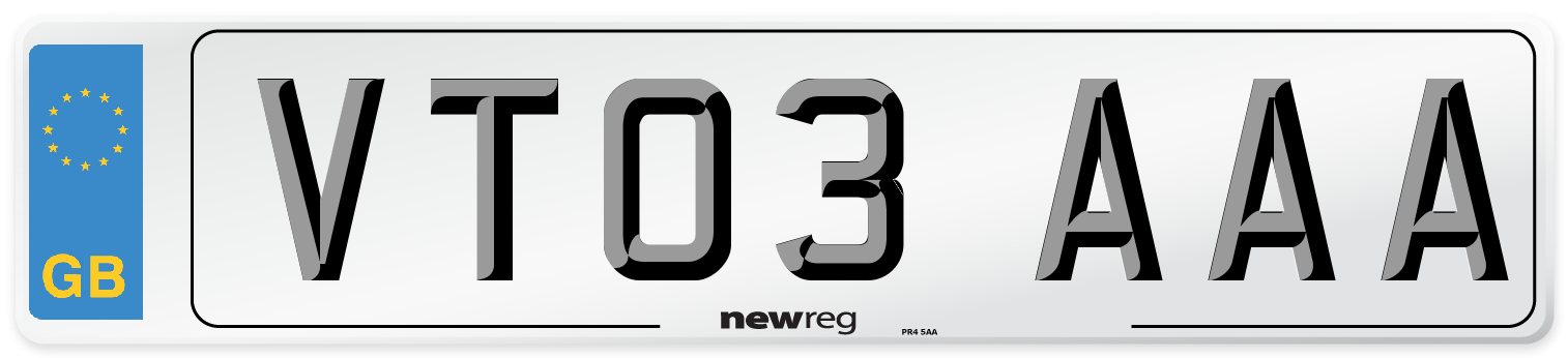 VT03 AAA Number Plate from New Reg