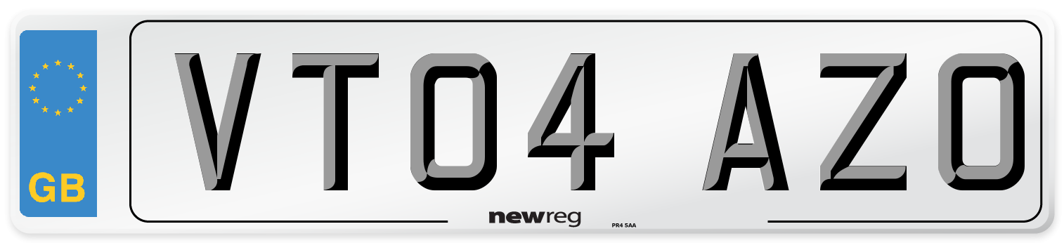 VT04 AZO Number Plate from New Reg