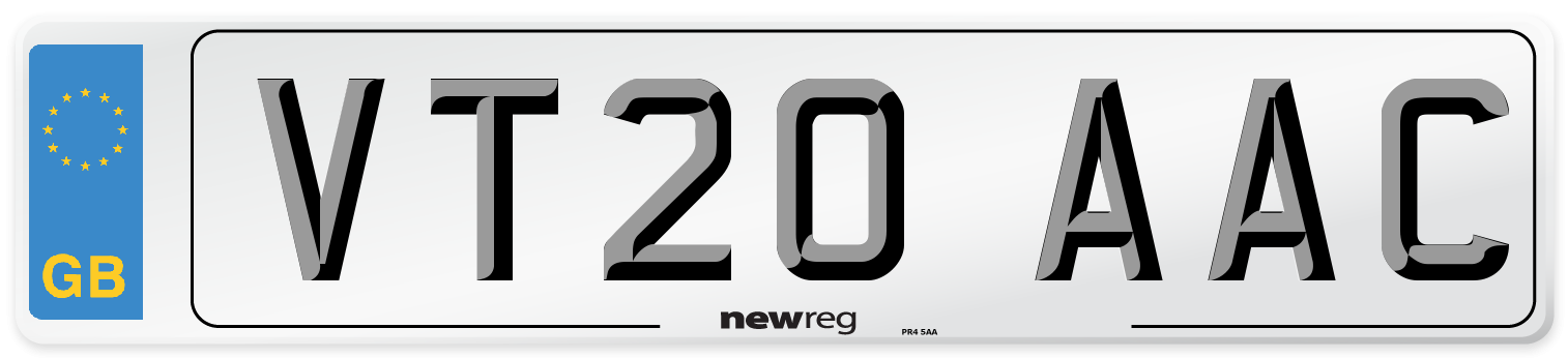 VT20 AAC Number Plate from New Reg
