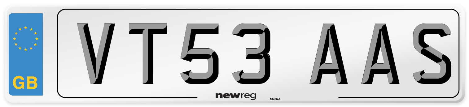 VT53 AAS Number Plate from New Reg
