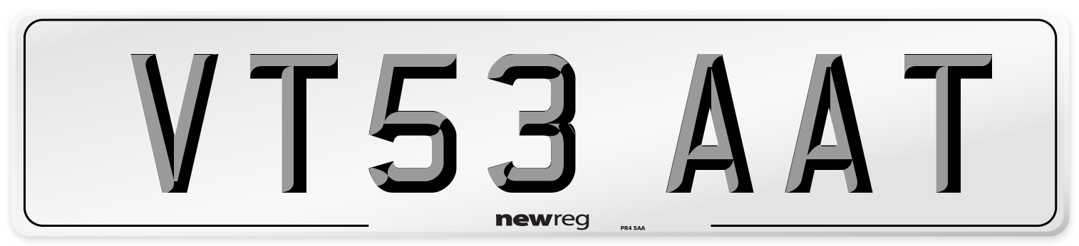 VT53 AAT Number Plate from New Reg