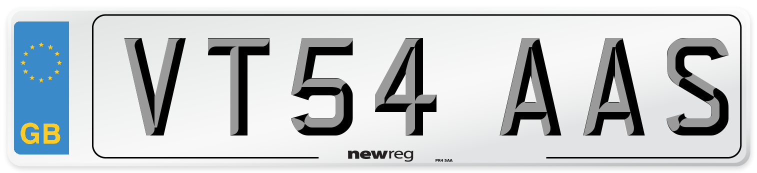 VT54 AAS Number Plate from New Reg