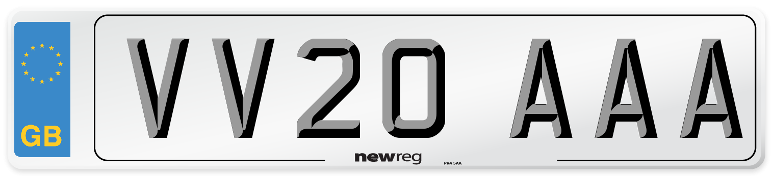 VV20 AAA Number Plate from New Reg