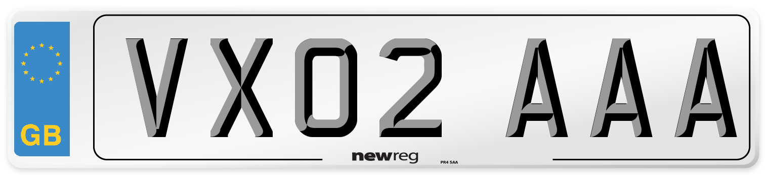 VX02 AAA Number Plate from New Reg
