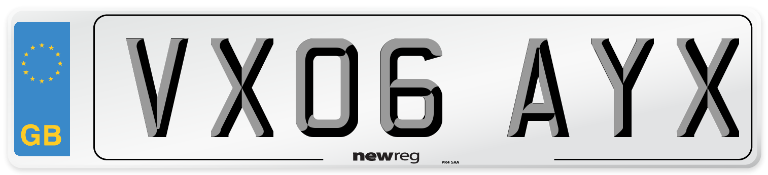 VX06 AYX Number Plate from New Reg