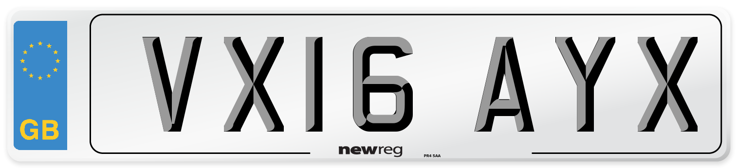 VX16 AYX Number Plate from New Reg