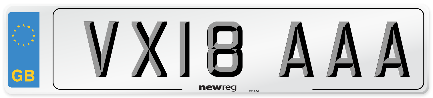 VX18 AAA Number Plate from New Reg