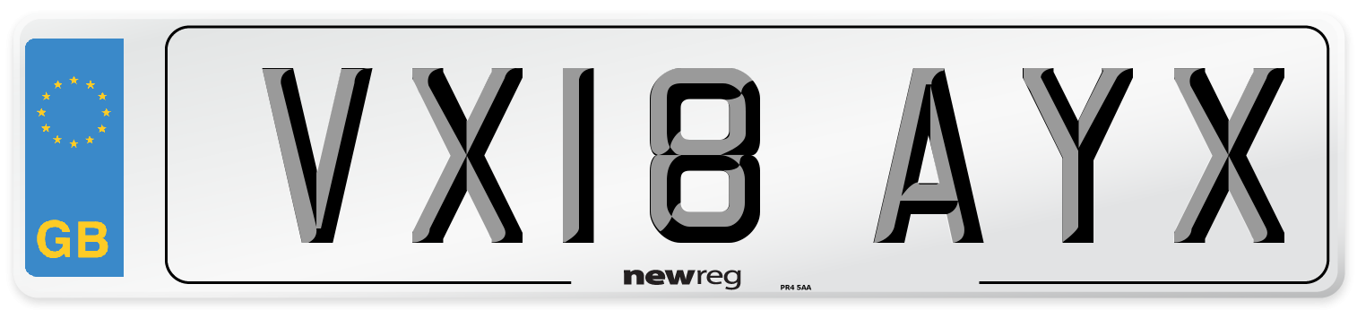 VX18 AYX Number Plate from New Reg