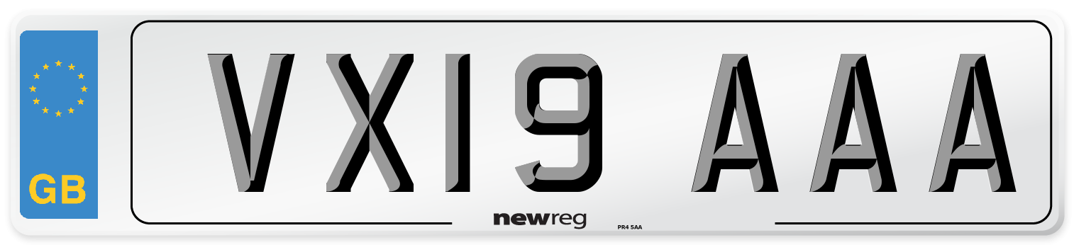 VX19 AAA Number Plate from New Reg