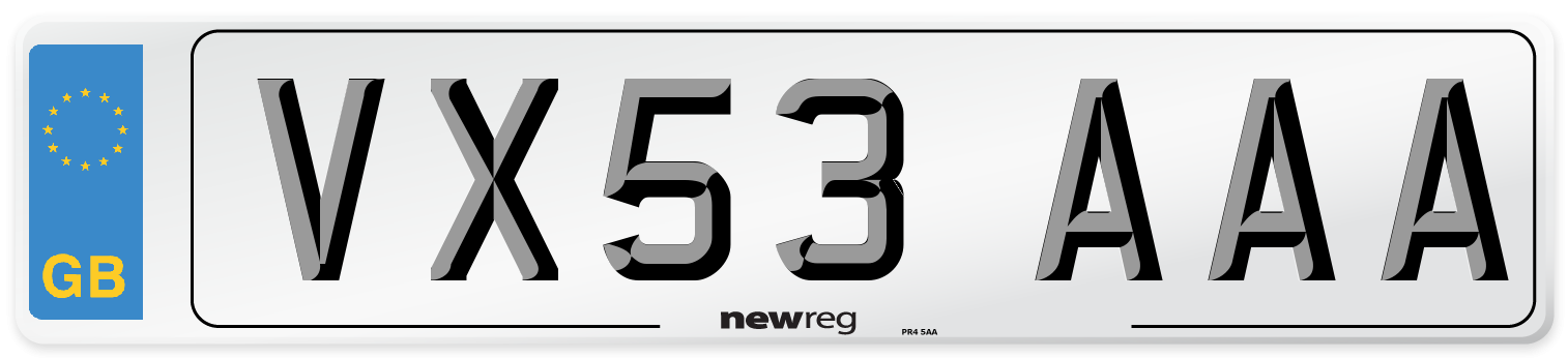 VX53 AAA Number Plate from New Reg