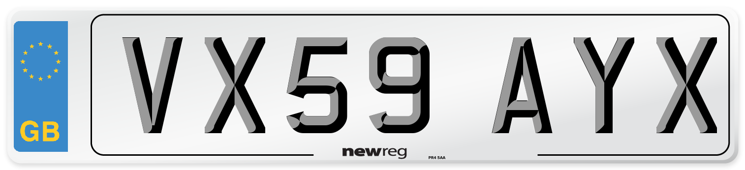 VX59 AYX Number Plate from New Reg