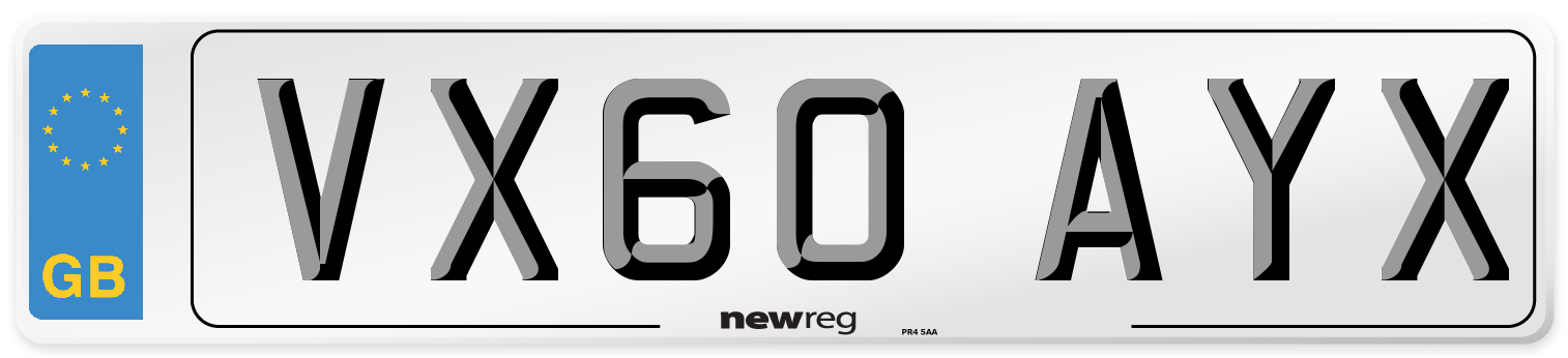 VX60 AYX Number Plate from New Reg