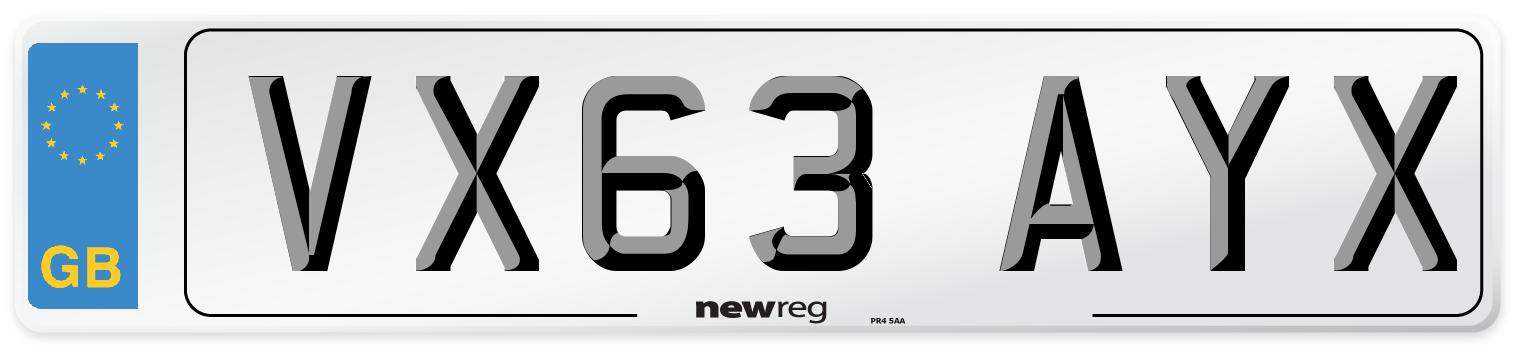 VX63 AYX Number Plate from New Reg