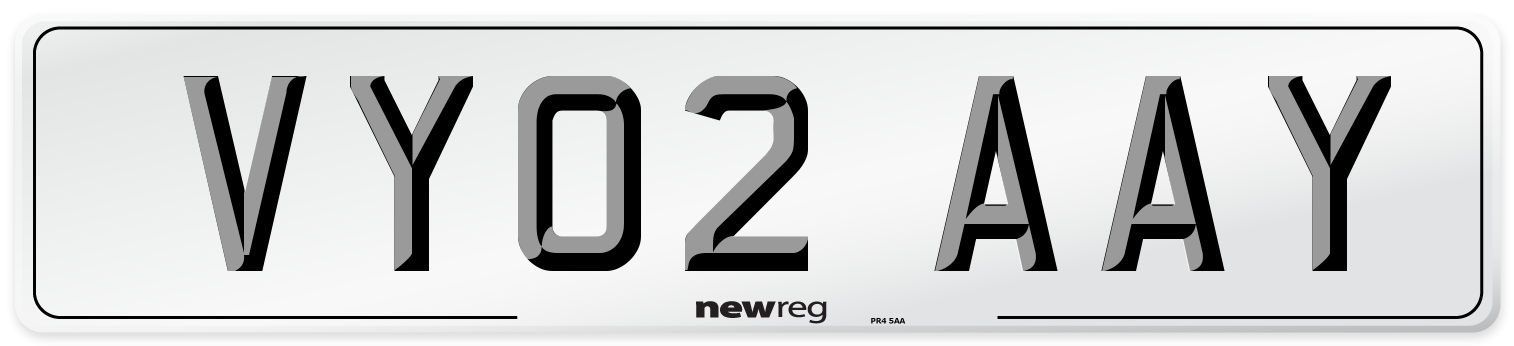 VY02 AAY Number Plate from New Reg