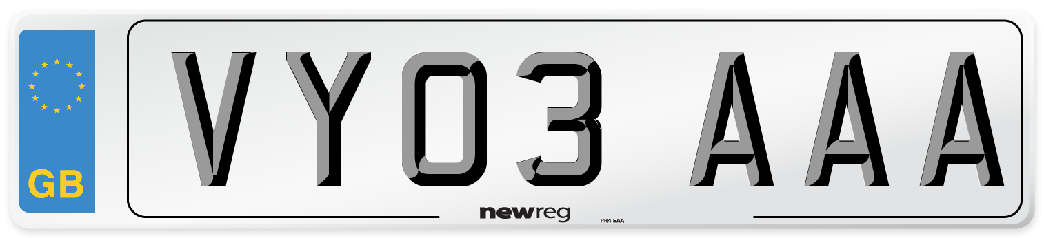 VY03 AAA Number Plate from New Reg