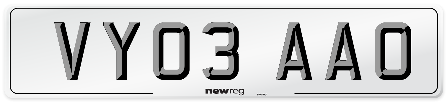 VY03 AAO Number Plate from New Reg
