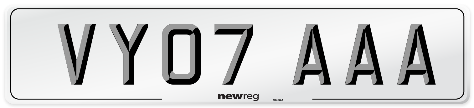 VY07 AAA Number Plate from New Reg