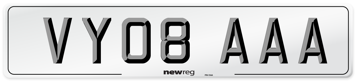VY08 AAA Number Plate from New Reg