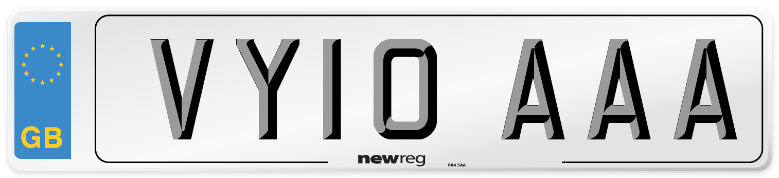 VY10 AAA Number Plate from New Reg