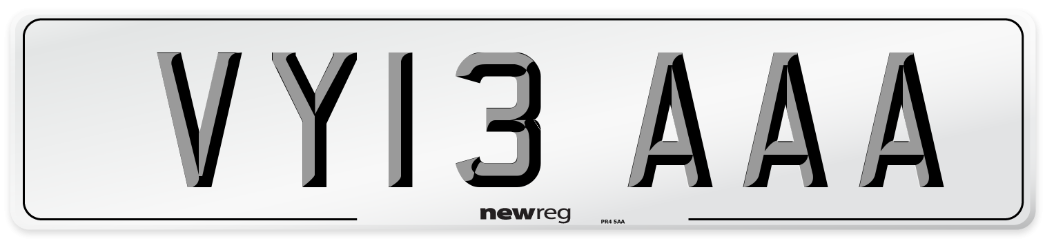 VY13 AAA Number Plate from New Reg