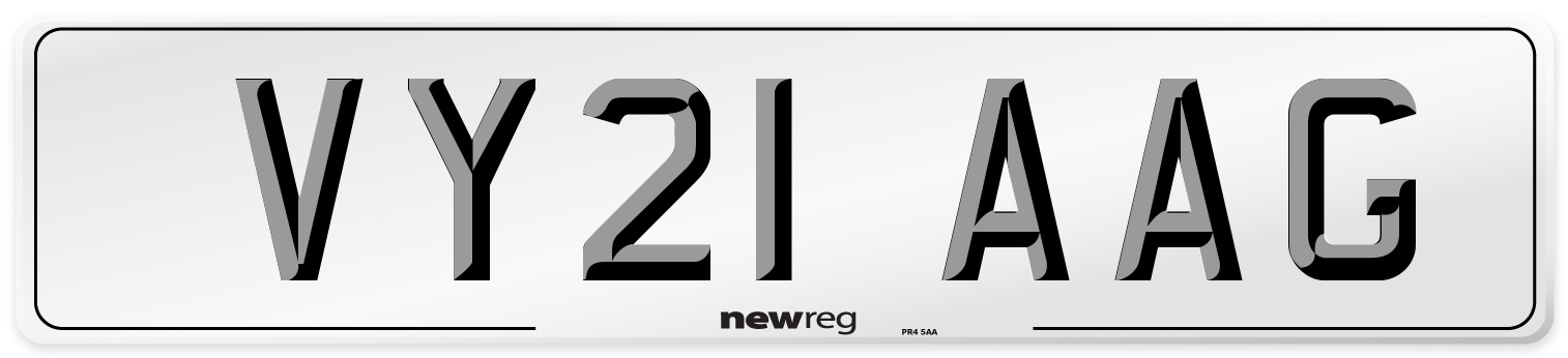 VY21 AAG Number Plate from New Reg