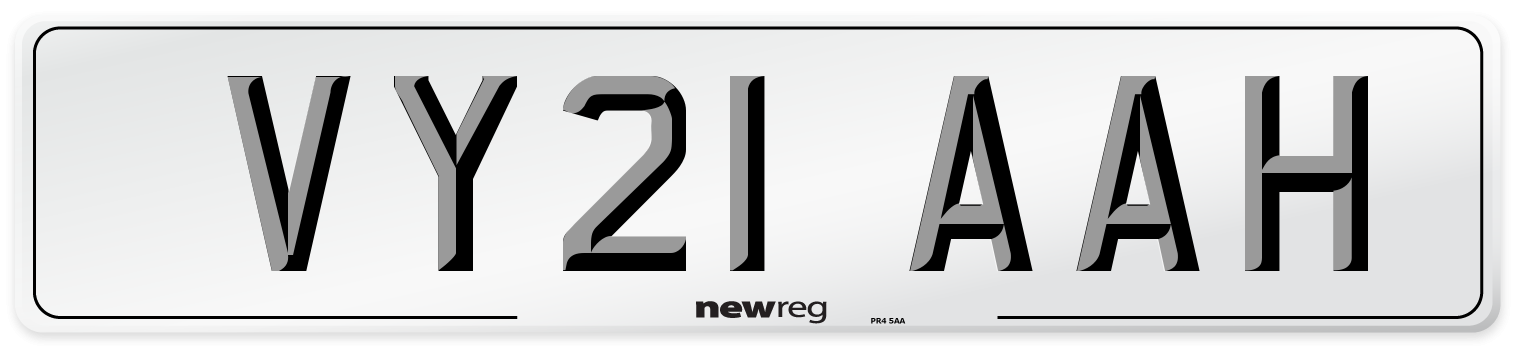 VY21 AAH Number Plate from New Reg