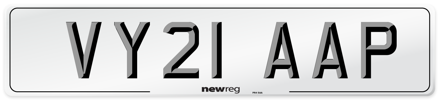 VY21 AAP Number Plate from New Reg
