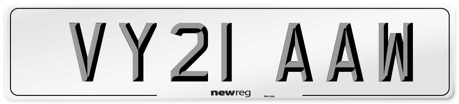 VY21 AAW Number Plate from New Reg