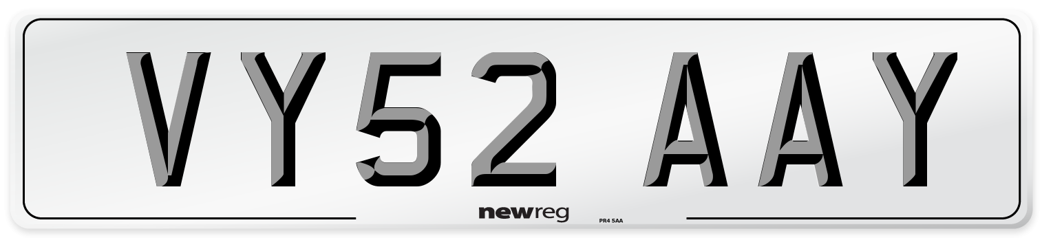 VY52 AAY Number Plate from New Reg