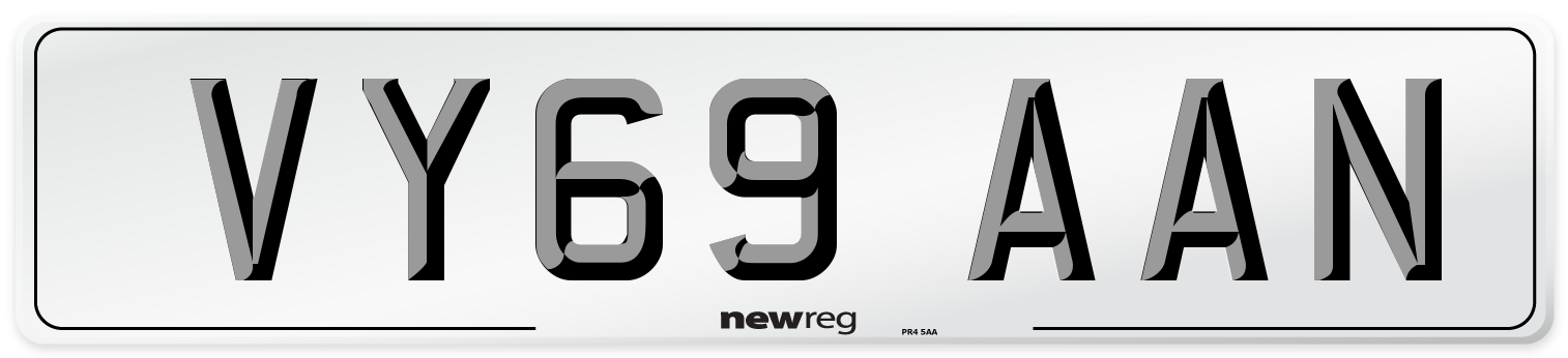 VY69 AAN Number Plate from New Reg
