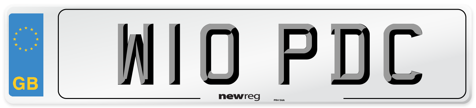 W10 PDC Number Plate from New Reg