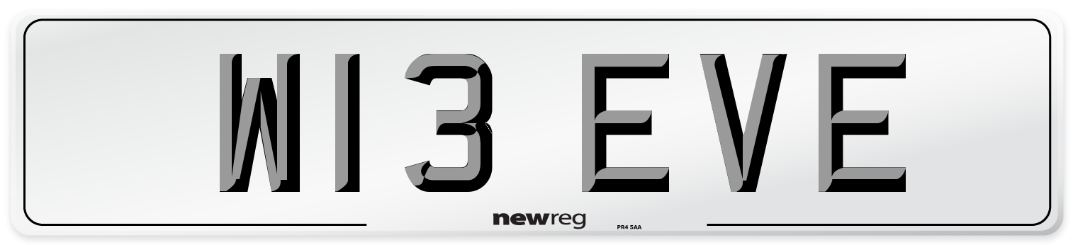 W13 EVE Number Plate from New Reg