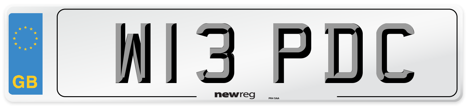 W13 PDC Number Plate from New Reg