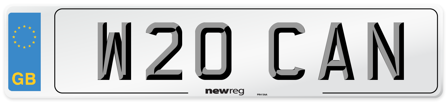 W20 CAN Number Plate from New Reg