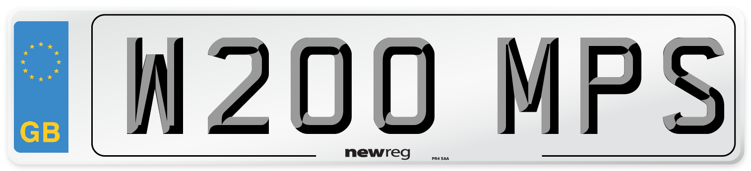 W200 MPS Number Plate from New Reg