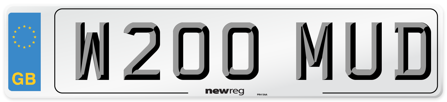 W200 MUD Number Plate from New Reg