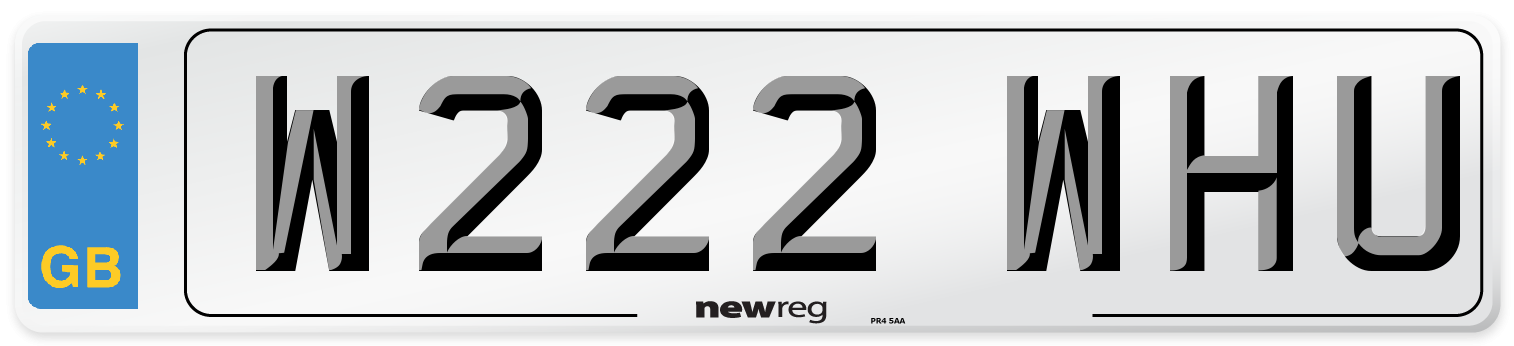 W222 WHU Number Plate from New Reg