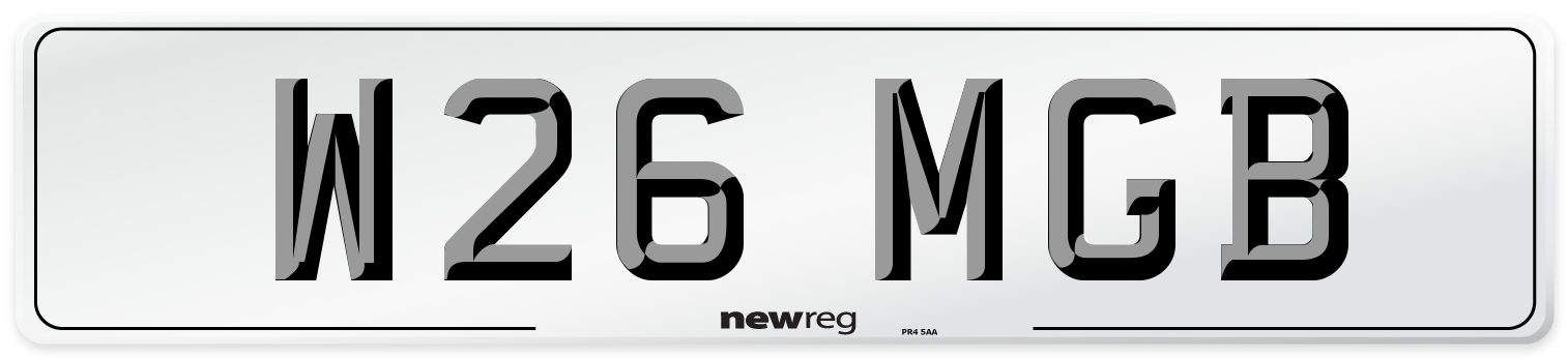 W26 MGB Number Plate from New Reg