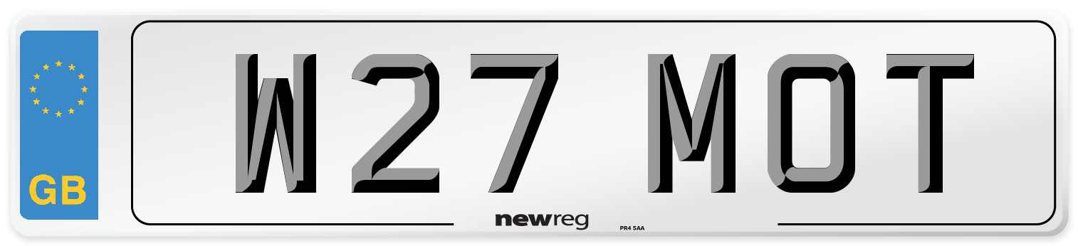 W27 MOT Number Plate from New Reg