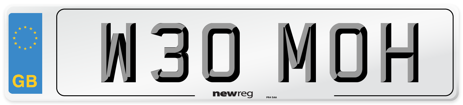 W30 MOH Number Plate from New Reg