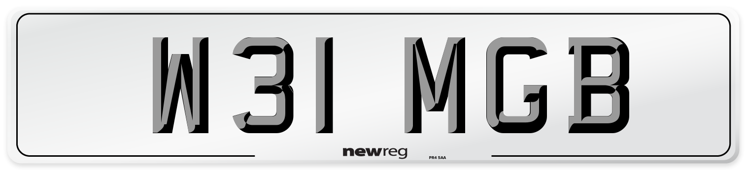 W31 MGB Number Plate from New Reg