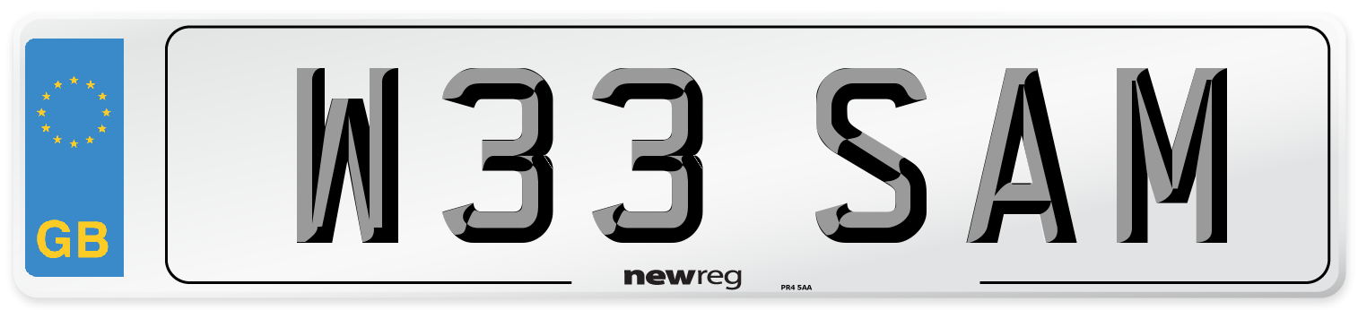 W33 SAM Number Plate from New Reg