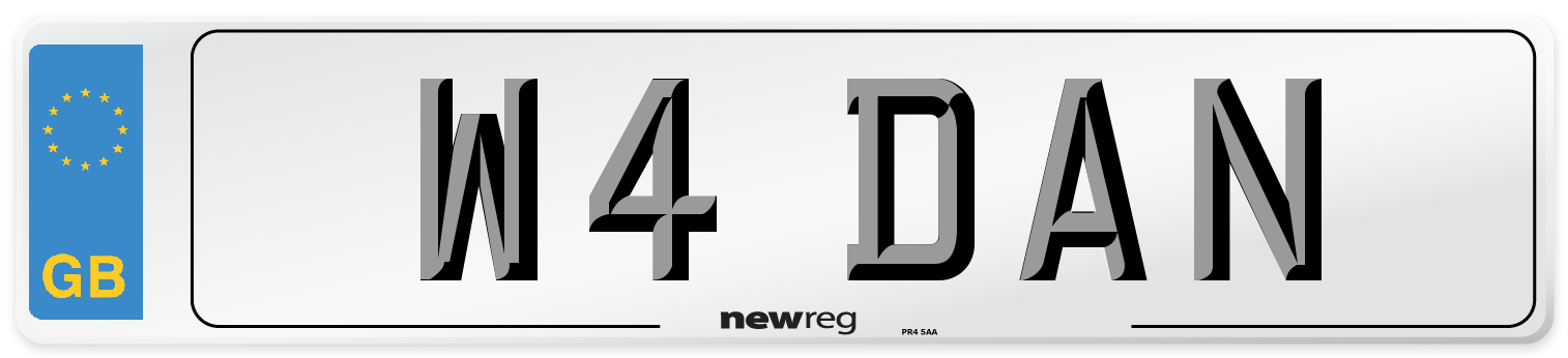 W4 DAN Number Plate from New Reg