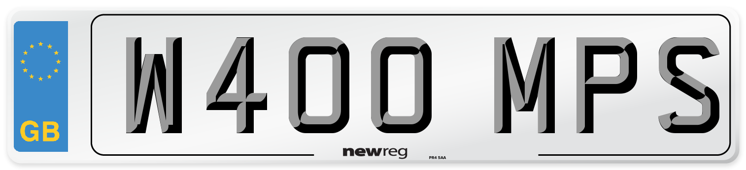W400 MPS Number Plate from New Reg