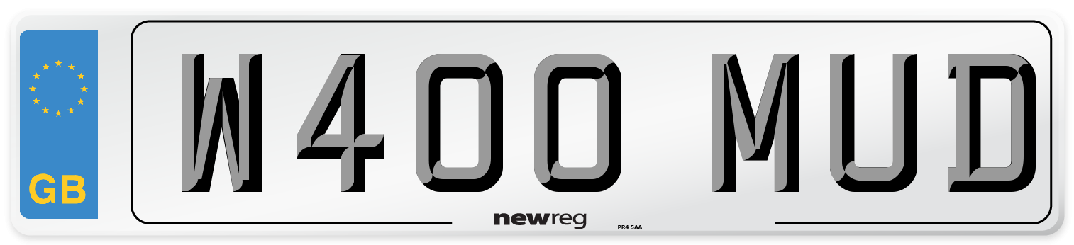 W400 MUD Number Plate from New Reg